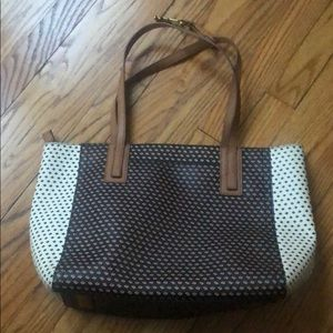 {fossil} coated leather patterned tote